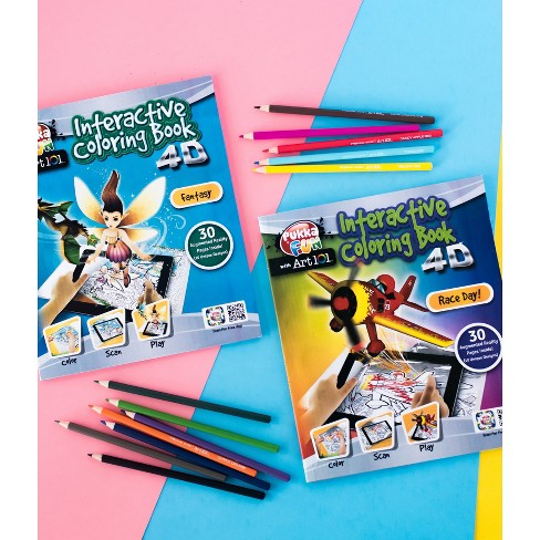 2pk 4D Interactive Coloring Book Fantasy/Race Day - Pukka Fun with Art 101 - image 1 of 4
