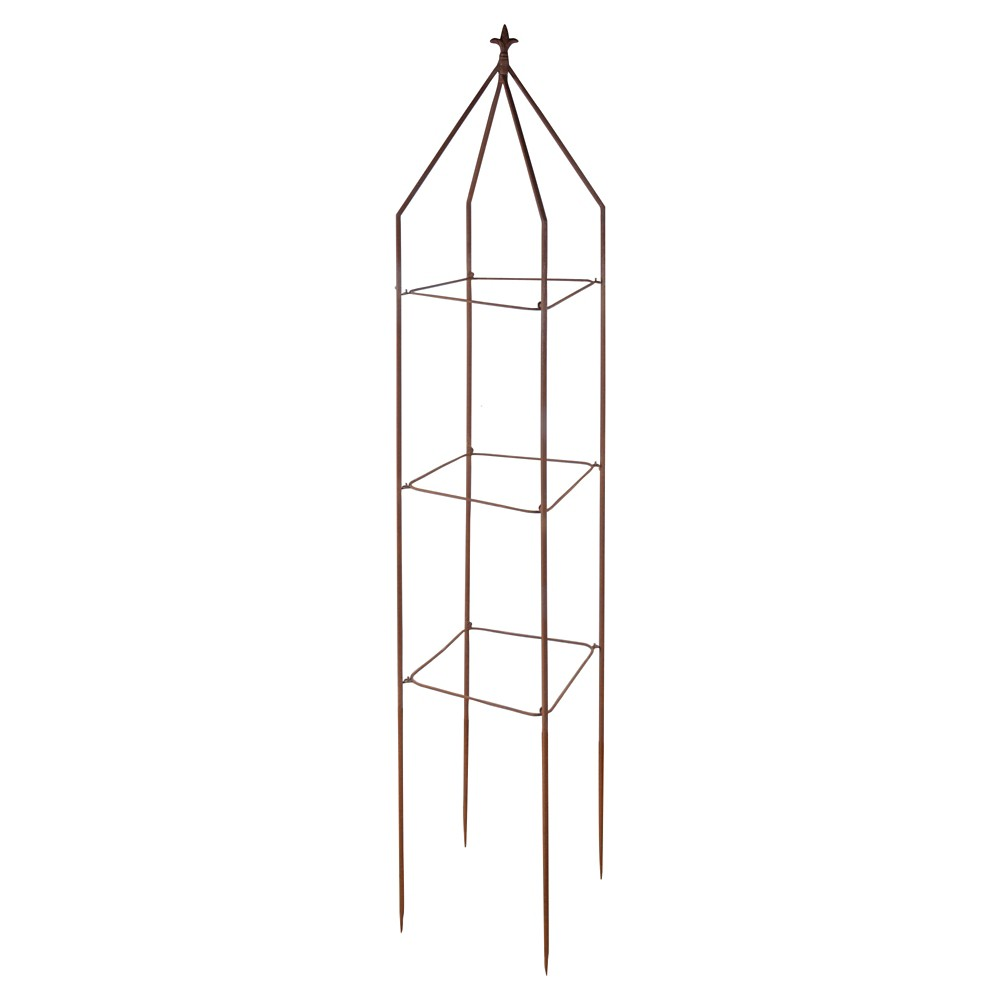 "Image of ""11"""" Metal Square Foldable Fluer De Lis Plant Tower - Brown - Esschert Design"""