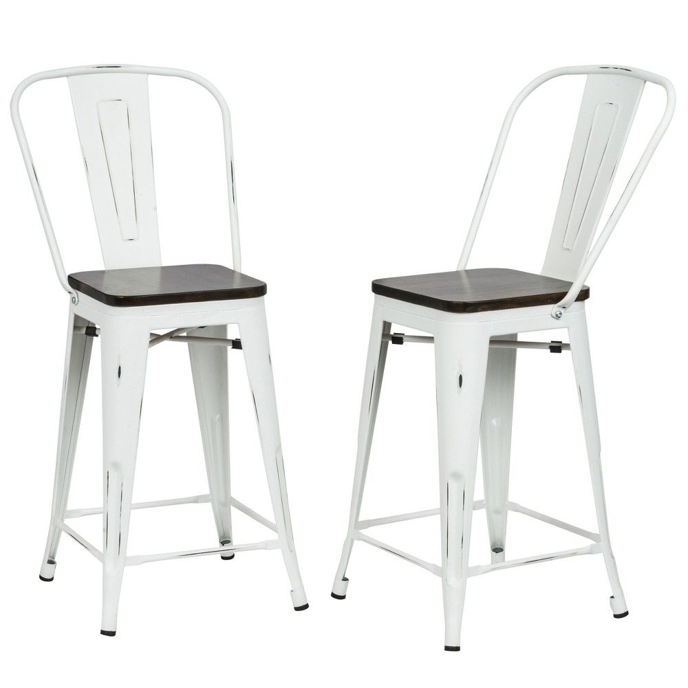 "Image of ""24"""" Reed Wood Seat Counter Stool Set of 2 Matte White - Carolina Chair and Table, Matt White"""