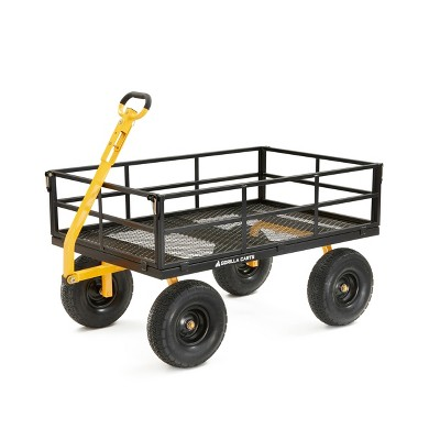 Gorilla Carts Extra Heavy Duty Steel Utility Cart with Removable Sides and Pneumatic Tires Capacity