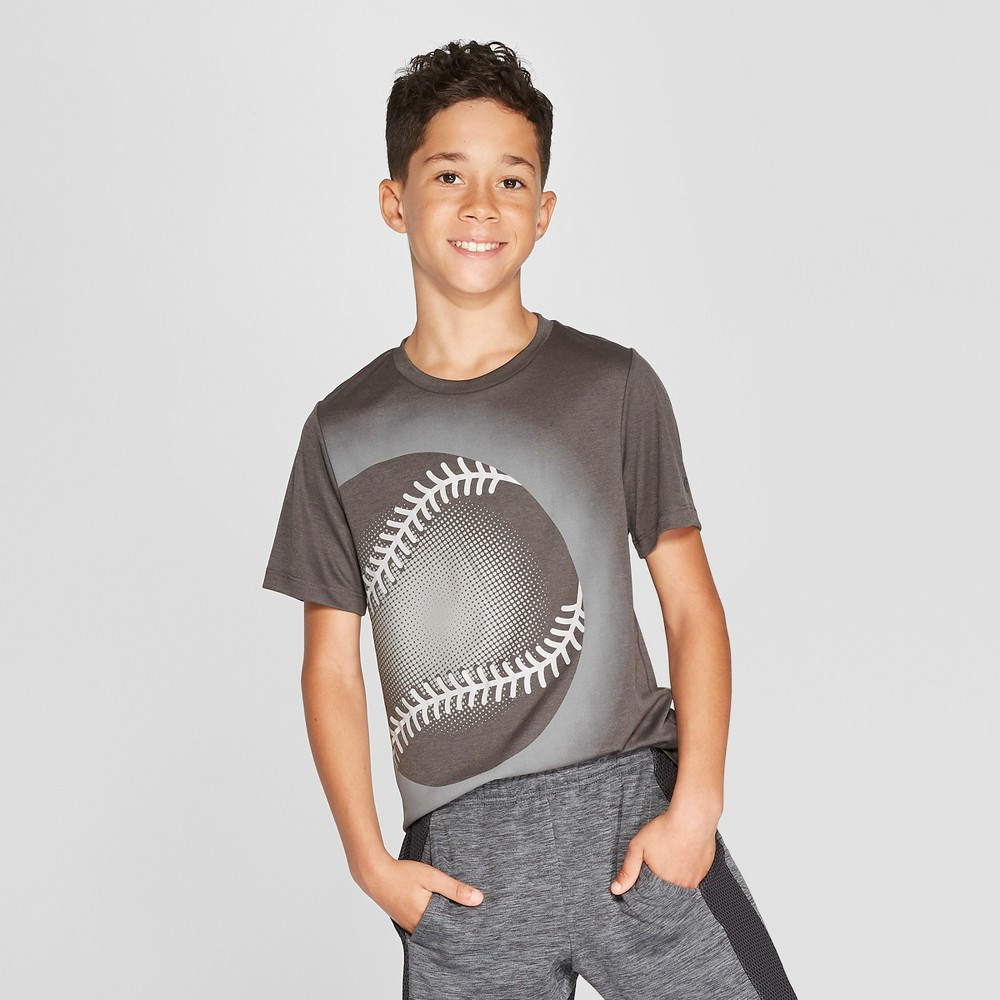 Boys' Baseball Graphic Tech T-Shirt - C9 Champion Charcoal S, Gray