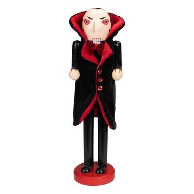 """Northlight 14"""" Dracula Vampire Wooden Halloween Nutcracker - Black/Red"""