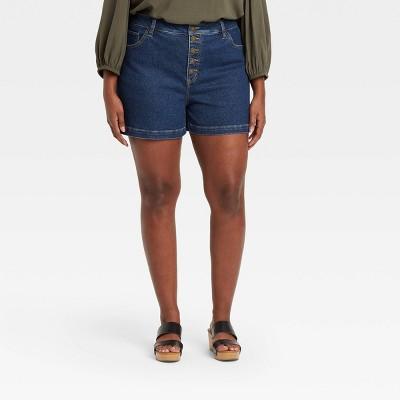 Women's Plus Size Button-Front Midi Jean Shorts - Ava & Viv™ Medium Wash