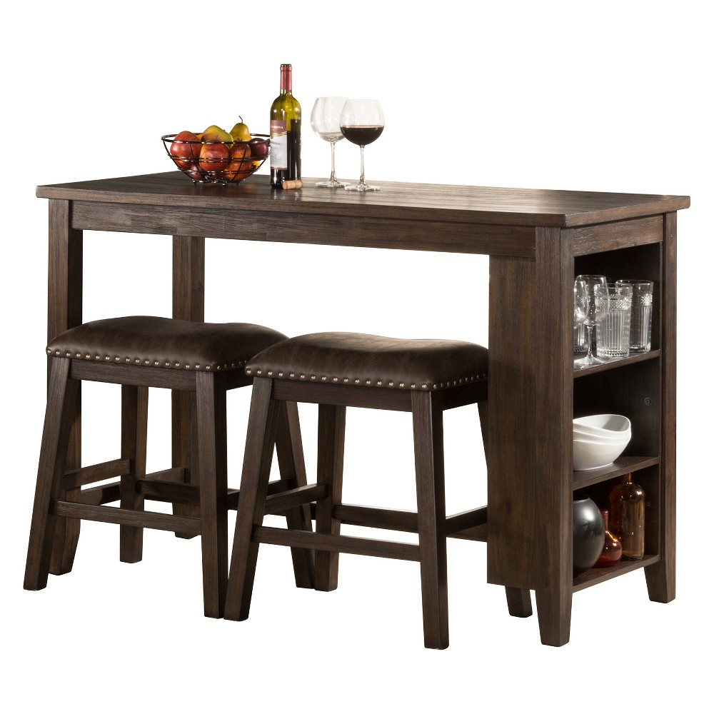 Spencer Three Piece Counter Height Dining Set With Backless Counter Height Stools Wood Dark Espresso/Brown Faux Leather - Hillsdale Furniture