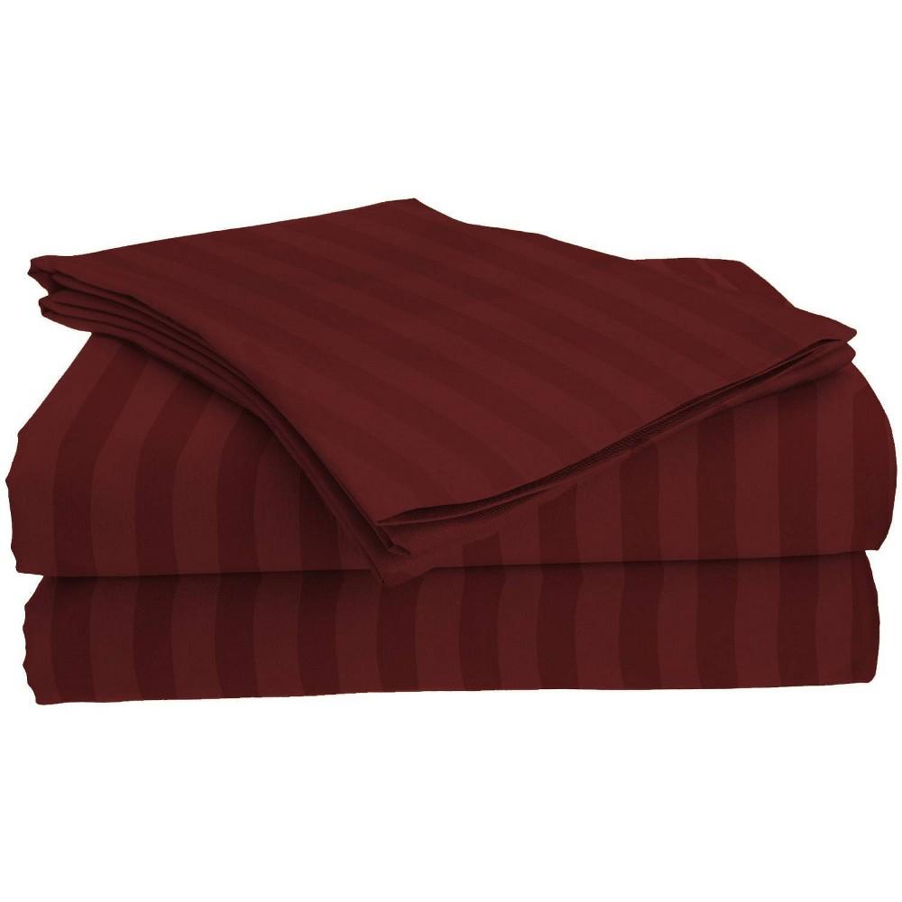 Image of Full Garment Wash Microfiber Striped Sheet Set Burgundy - Posh Home, Red