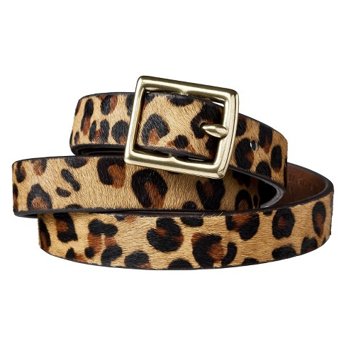 Women's Leopard Print Calf Hair Belt - A New Day™ Brown/Tan XXL - image 1 of 1