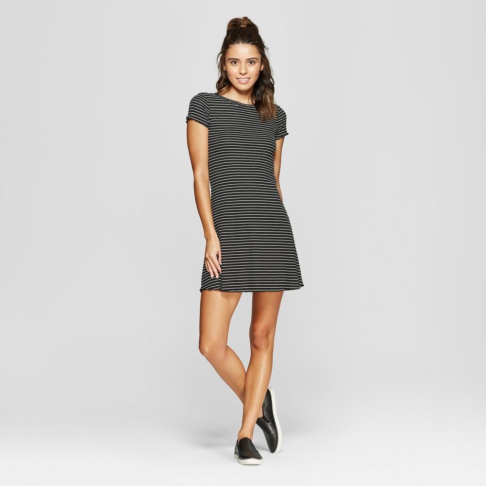 Women's Striped Cap Short Sleeve Dress - Almost Famous (Juniors') Black/White L
