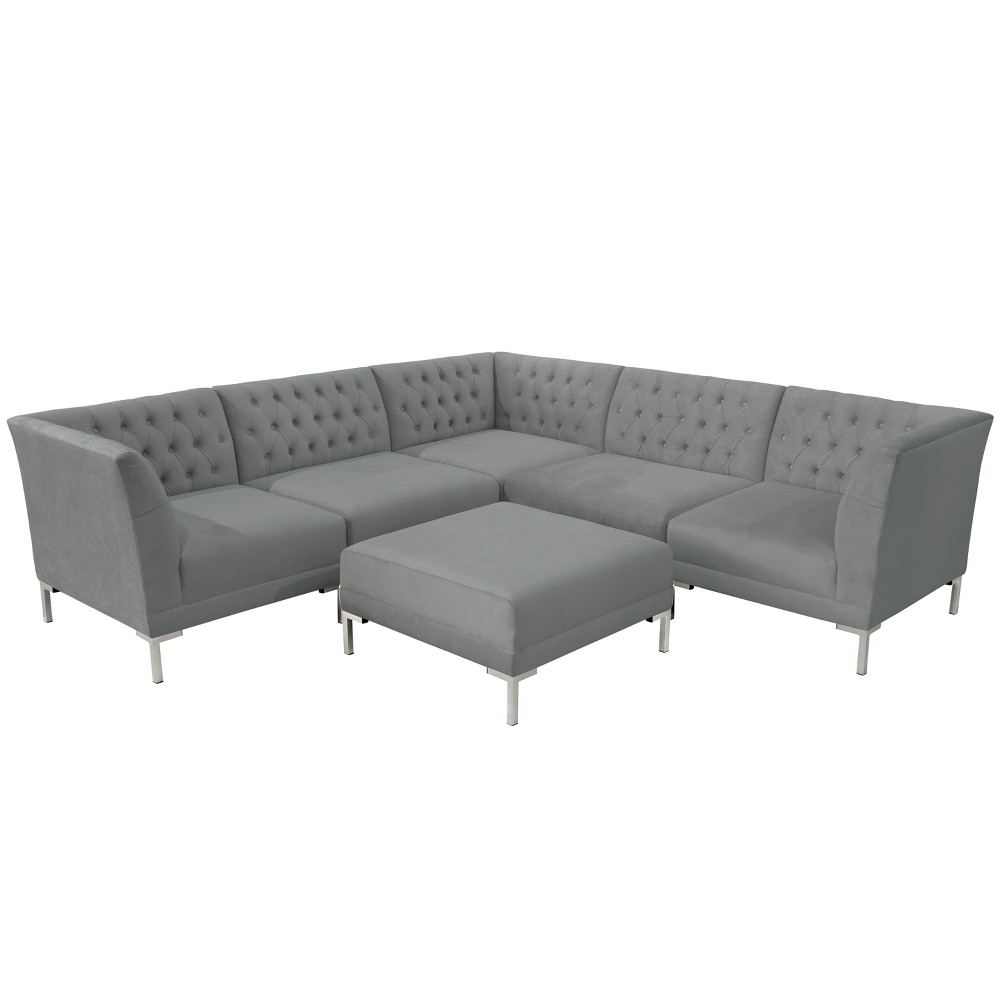6pc Audrey Diamond Tufted Sectional Gray Velvet and Silver Metal Y Legs - Cloth & Co.