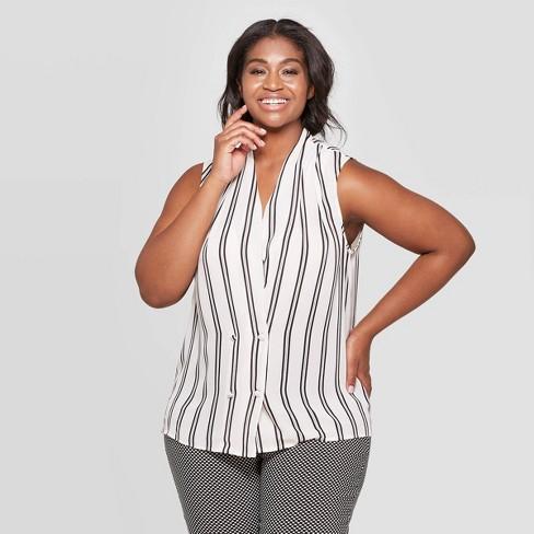 Women's Plus Size Sleeveless V-Neck Tuxedo Blouse - Who What Wear™ - image 1 of 3