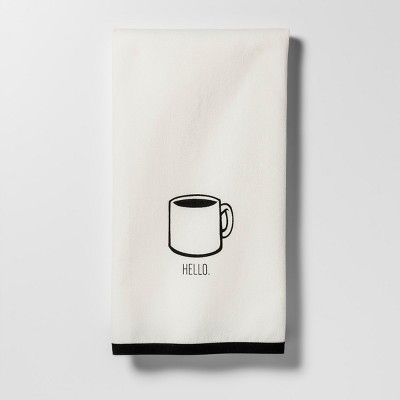 Black Hello Coffee Cup Kitchen Towel - Project 62™