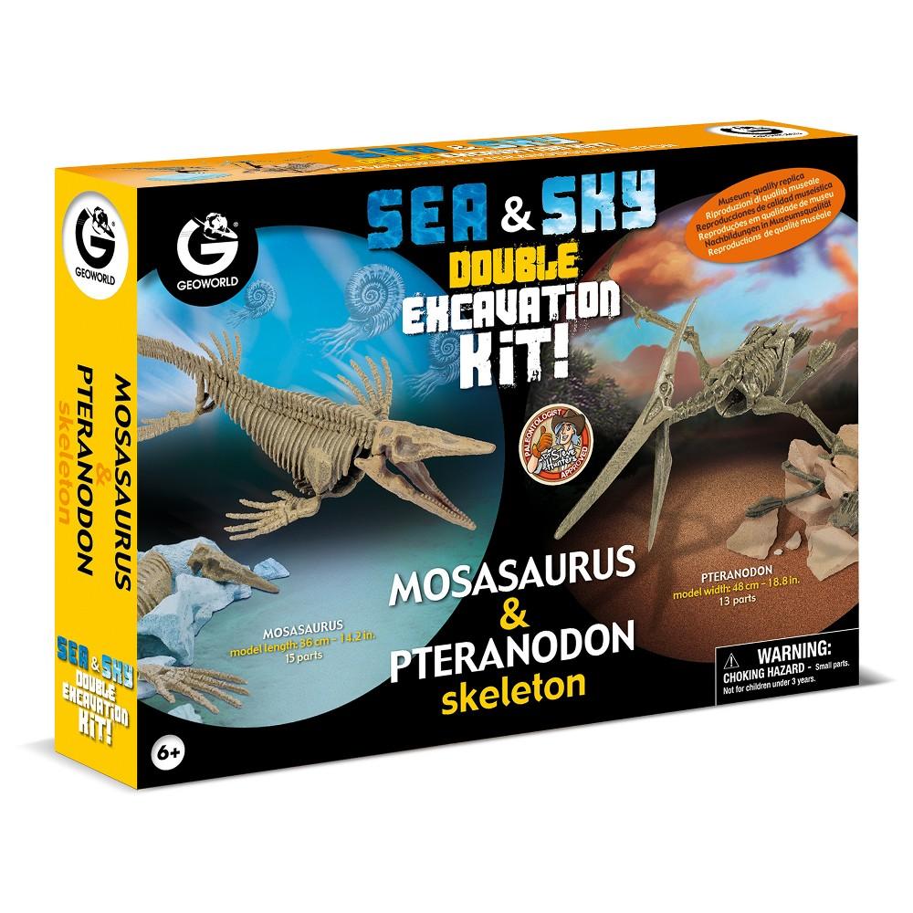 Geoworld Double Excavation Kit Sea & Sky - Mosasaurus & Pteranodon