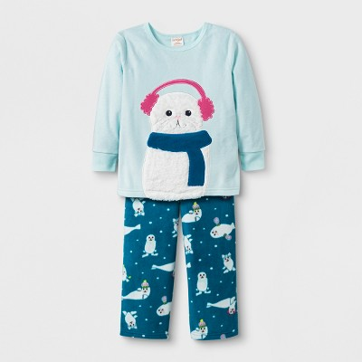 Baby Girls' 2pc Seal Pajama Set - Cat & Jack™ Aqua 18M