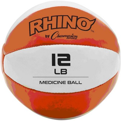 Champion Sports MB11 Rhino Textured Leather 8 Inch Round Non Slip Grip Exercise Medicine Fitness Training Weight Ball, 12 Pounds, Orange