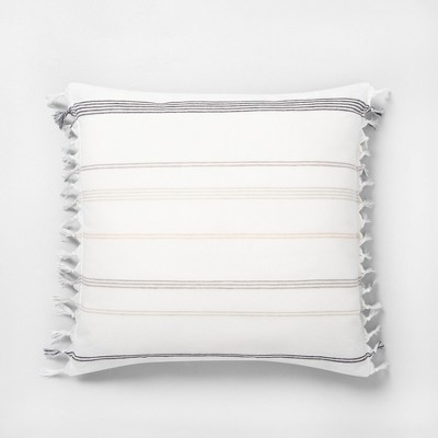 "18"" x 18"" Knotted Fringe Stripes Throw Pillow Neutral / Sour Cream - Hearth & Hand™ with Magnolia"