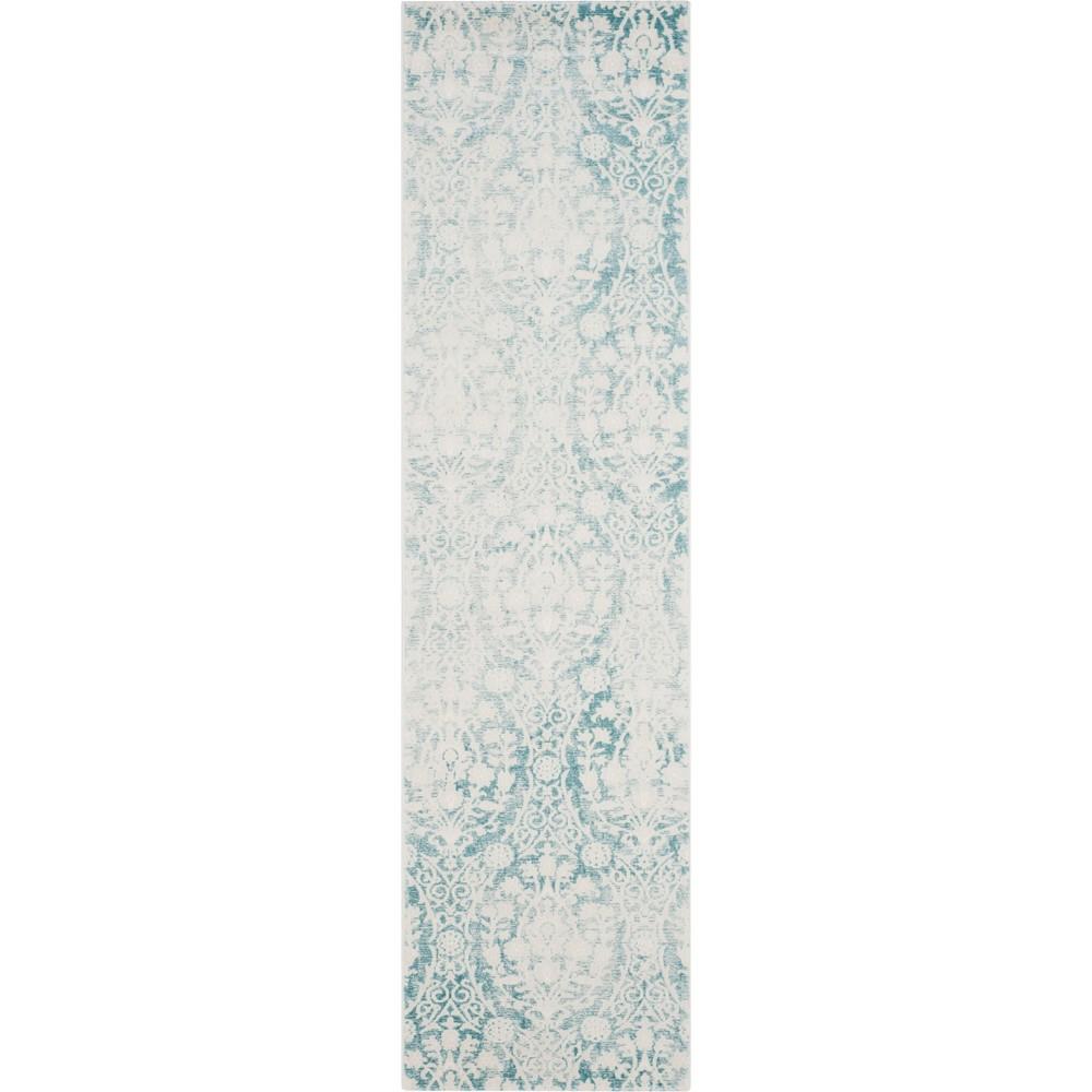 Medallion Loomed Runner Turquoise/Ivory
