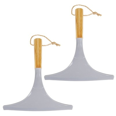 mDesign Bamboo Bathroom Squeegee with Hanging Loop, 2 Pack