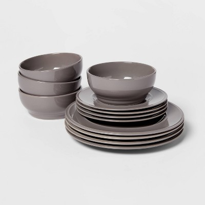 12pc Stoneware Everyday Dinnerware Set Gray - Threshold™