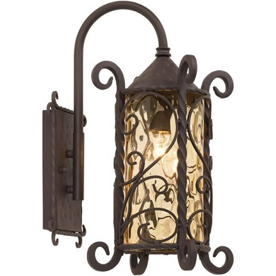"""John Timberland Rustic Outdoor Wall Light Fixture Dark Walnut Iron Twists 18 1/2"""" Champagne Hammered Glass for Exterior House Deck"""