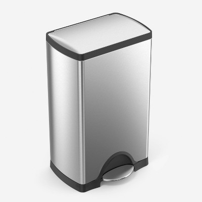 simplehuman 38L Rectangular Step Trash Can Fingerprint-Proof Brushed Stainless Steel