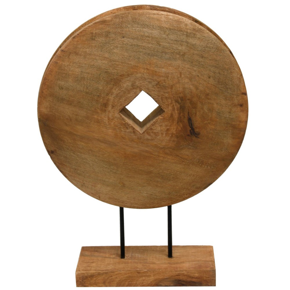 "Image of ""21 x 16"""" Native Wheel Table Top Wooden Sculpture Natural/Black - StyleCraft"""