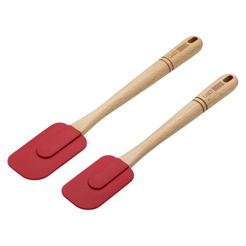 Cake Boss 2 Piece Wooden Tools and Gadgets Silicone Spatula Set - Red - image 1 of 1