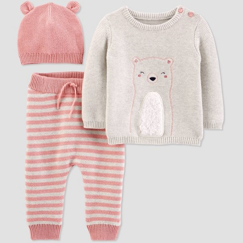 Baby Girls' Bear 3pc Top & Bottom Set - Just One You® made by carter's Pink - image 1 of 2