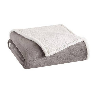 Full/Queen Microlight To Berber Bed Blanket Gray
