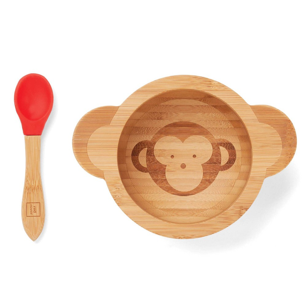 Red Rover 12oz 2pc Bamboo Kids Monkey Suction Base Dining Bowl With Spoon