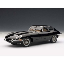 Jaguar E Type Coupe Series 1 3.8 Black with Metal Wire Spoke Wheels 1/18 Diecast Model Car by Autoart