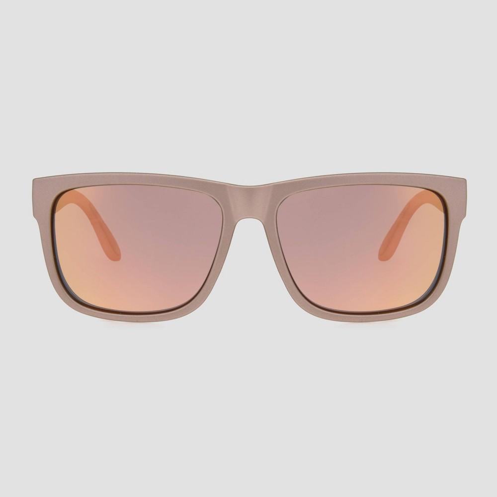 Image of Women's Rectangle Plastic Metal Polarized Sunglasses - Orange, Women's, Size: Small, Grey/Orange