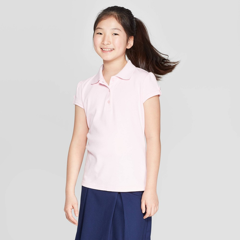 Girls' Short Sleeve Interlock Uniform Polo Shirt - Cat & Jack Pink XL