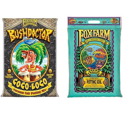 FoxFarm FX14100 Bush Doctor Coco Loco, 2 Cu Feet and Ocean Forest FX14053 Garden Potting Soil Mix, 12 Quarts for Plants (Bundle)