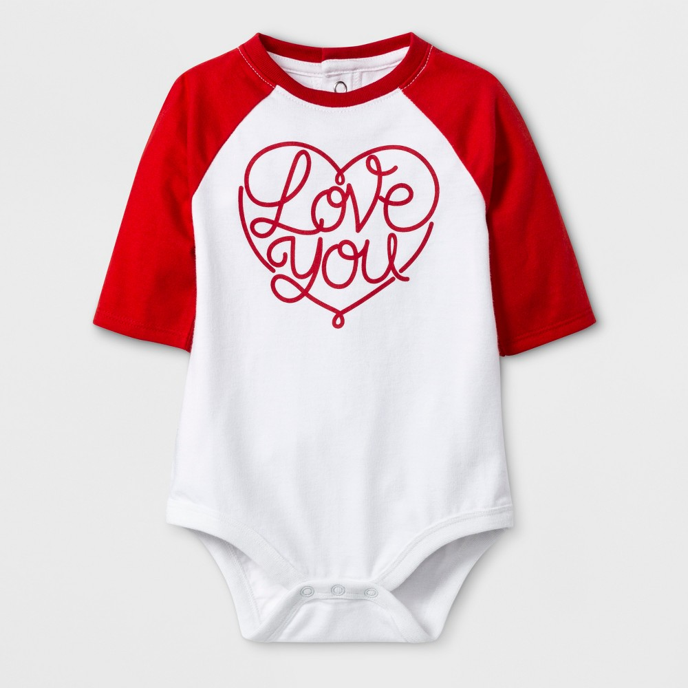 Image of Baby 3/4 Sleeve 'Love You' Bodysuit - Cat & Jack White Newborn, Kids Unisex