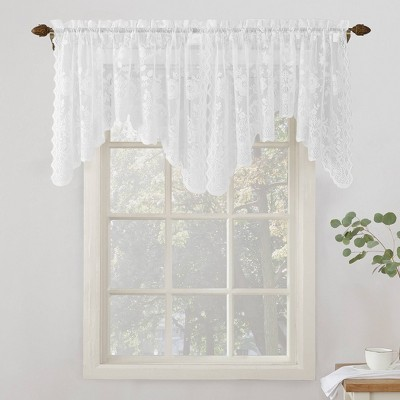 "32""x58"" Alison Floral Sheer Lace Rod Pocket Curtain Valance White - No. 918"