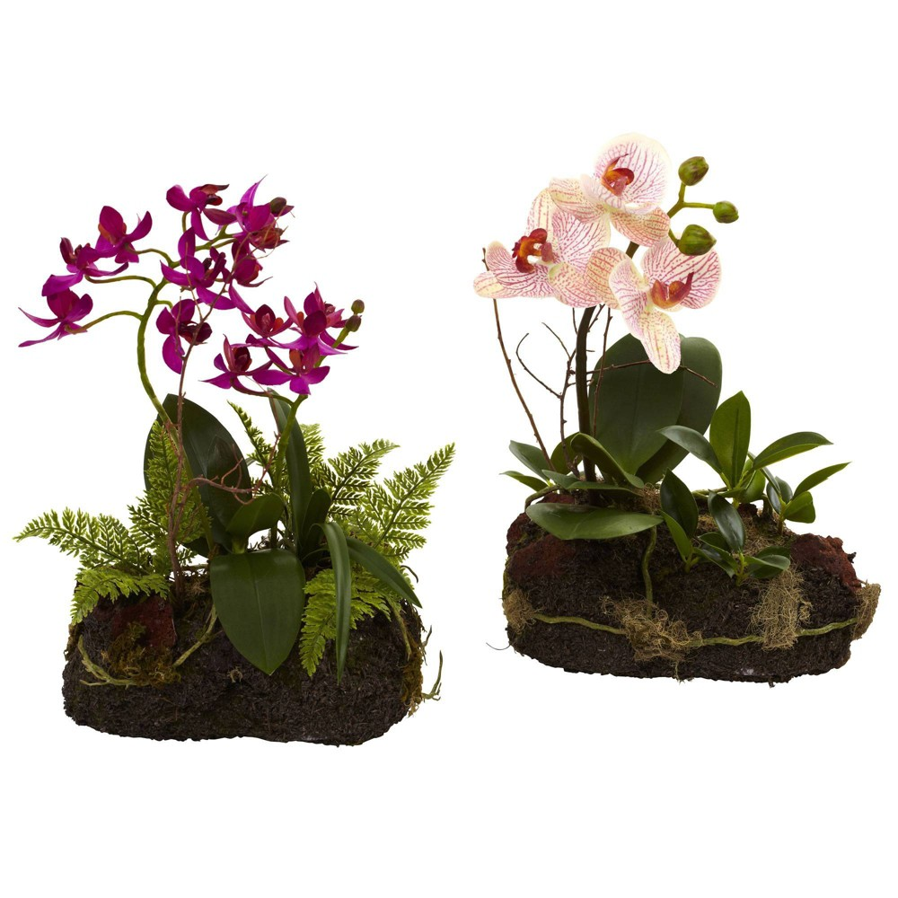 "Image of ""10"""" x 7"""" 2pc Artificial Orchid Island Set White/Purple - Nearly Natural"""