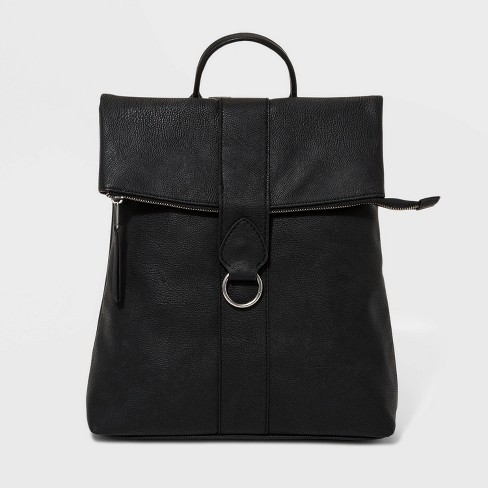 Flap Backpack With Ring - Universal Thread™ Black - image 1 of 5