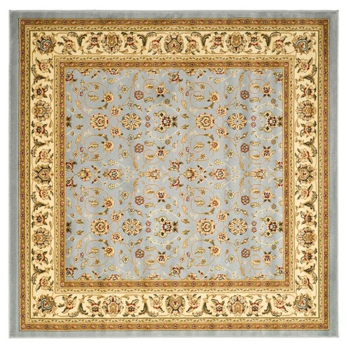 10 X10 Floral Round Area Rug Light Blue Ivory Safavieh
