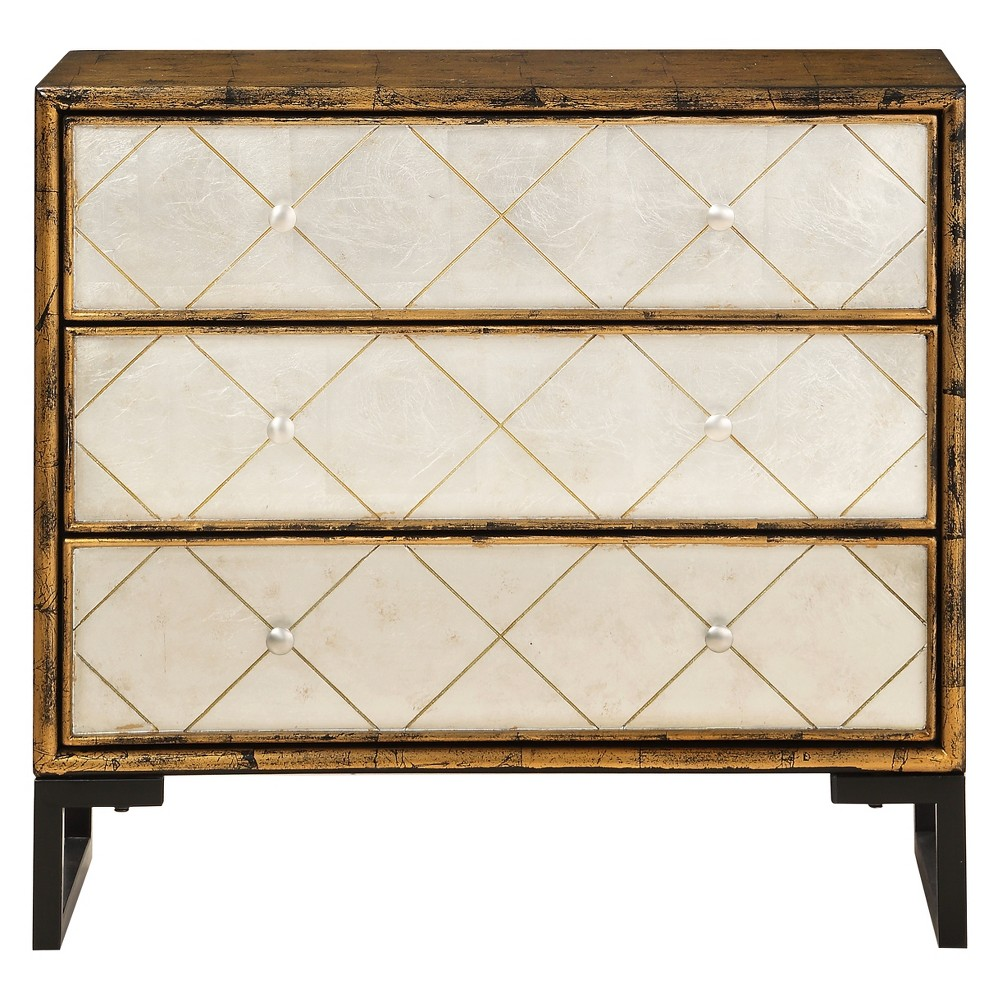 Modern 3 Drawer Chest with Power Antique Gold/Silver - Treasure Trove