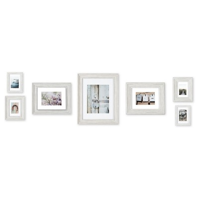 7pc Distressed White Mixed Profile Frame Kit - Gallery Perfect