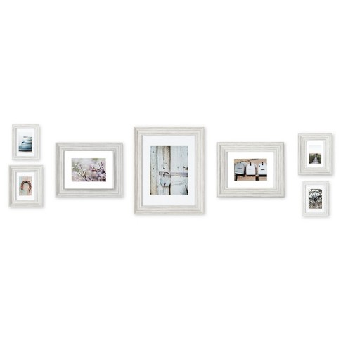 7 Piece Distressed White Mixed Profile Frame Kit Gallery Perfect