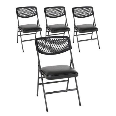 Cosco 4pk Vinyl and Resin Folding Chair Hammertone Black