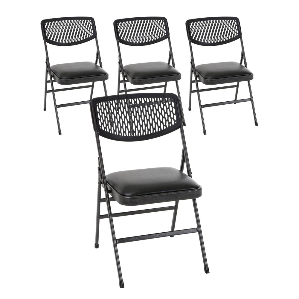 Strange 4Pk Vinyl And Resin Folding Chair Hammertone Black Cosco Ocoug Best Dining Table And Chair Ideas Images Ocougorg
