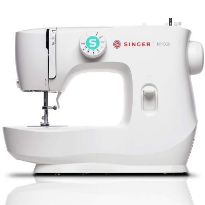 Singer M1500 Portable Sewing Machine with 57 Stitch Applications, Pack of Needles, Bobbins, Seam Ripper, Zipper Foot, and More Accessories, White