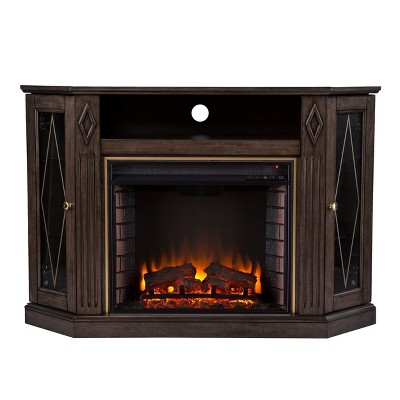 Stonstian Electric Fireplace with Media Storage Brown/Gold - Aiden Lane