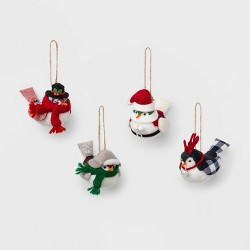 4ct Farmhouse Bird Christmas Ornament Set - Wondershop™