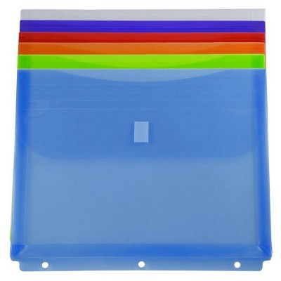 JAM Paper 9 1/2'' x 1 1/4'' x 11 1/2'' 6pk Plastic Binder Envelopes with Easy Closure, 3 Hole Punch
