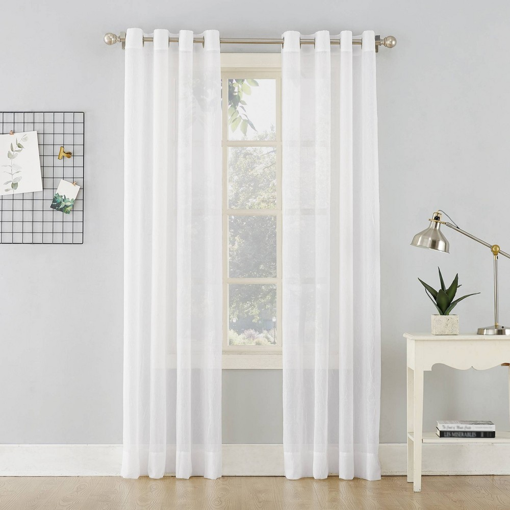 51 34 X72 34 Erica Crushed Sheer Voile Grommet Top Curtain Panel White No 918