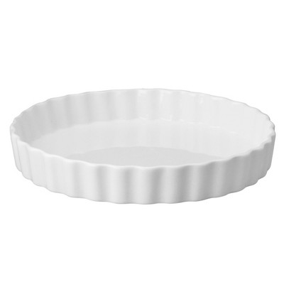 HIC Harold Import Co White Porcelain 10 Inch Round Fluted Quiche Dish