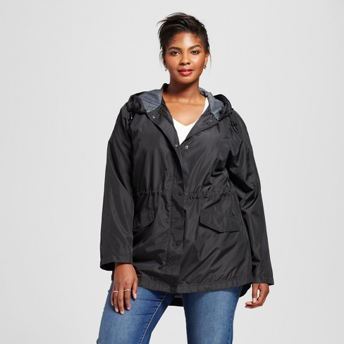 Women's Plus Anorak - Ava & Viv™ Black - image 1 of 2