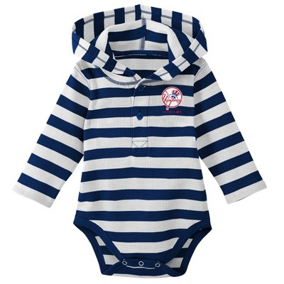 New York Yankees Boys' Striped Long Sleeve Hooded Bodysuit - 6-9M